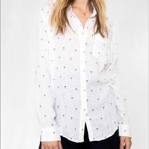 RAILS   Charli Black + White Palm Tree Button Down